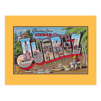 Saludos del vintage de Ciudad Juárez México viejo Postal