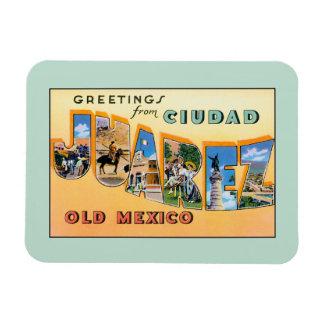 Saludos del vintage de Ciudad Juárez México viejo Rectangle Magnet