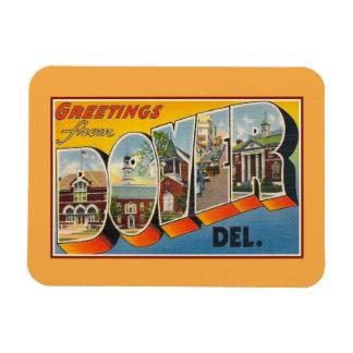 Saludos del vintage de Dover Delaware Imán Foto Rectangular