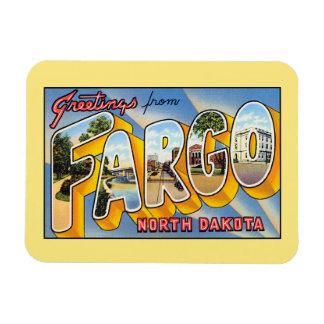 Saludos del vintage de Fargo Dakota del Norte Imanes De Vinilo
