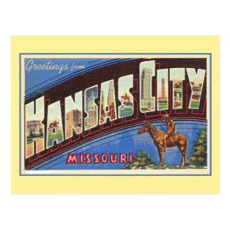 Saludos del vintage de Kansas City MES Tarjetas Postales