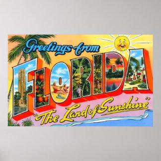 Saludos del vintage de la Florida Póster