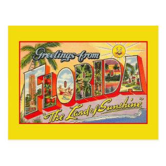 Saludos del vintage de la Florida, tierra de la Tarjetas Postales