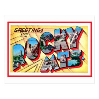 Saludos del vintage de las montañas rocosas tarjetas postales