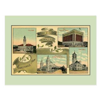 saludos del vintage de los años 10 de Worcester mA Postal