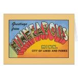 Saludos del vintage de Minneapolis Minnesota Tarjeta De Felicitación