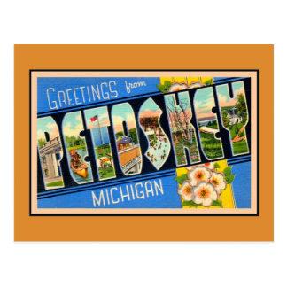 Saludos del vintage de Petoskey Michigan Postales