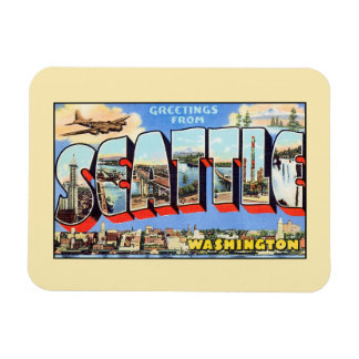 Saludos del vintage de Seattle Washington Imán Rectangular