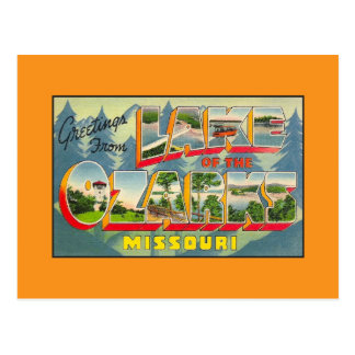 Saludos del vintage del lago del Ozarks MES Postales