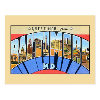 Saludos del vintage del MD. de Baltimore Tarjetas Postales