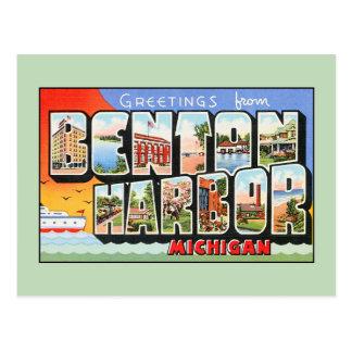 Saludos del vintage del puerto Michigan de Benton Postales