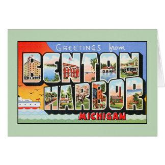 Saludos del vintage del puerto Michigan de Benton Tarjeta De Felicitación
