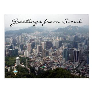 saludos del vista de Seul Postal