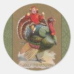 Saludos divertidos del vintage de Turquía de la Etiquetas Redondas