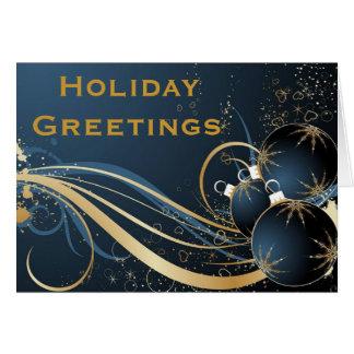 Saludos elegantes del día de fiesta en azul tarjeta de felicitación