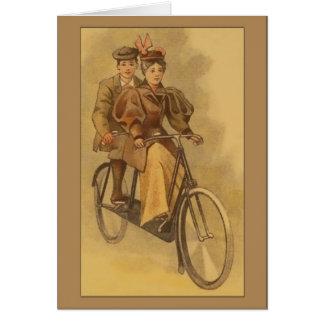 Saludos en tándem de la bici del vintage tarjetón