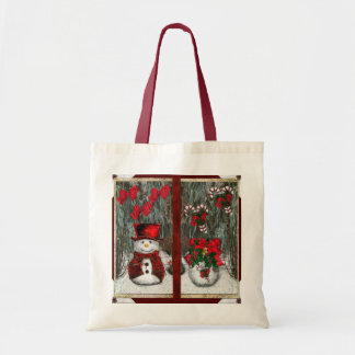 Saludos escarchados del navidad bolsa tela barata