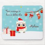 Saludos felices Mousepad del búho de la nieve Alfombrilla De Raton