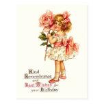 Saludos florales lindos del cumpleaños del vintage tarjeta postal