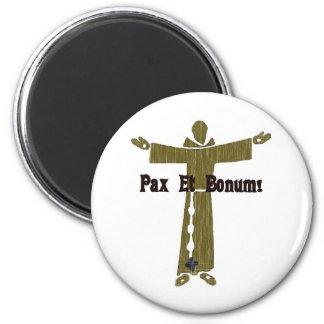 Saludos franciscanos imán redondo 5 cm