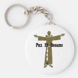 Saludos franciscanos llavero redondo tipo pin