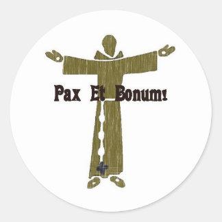 Saludos franciscanos etiquetas redondas