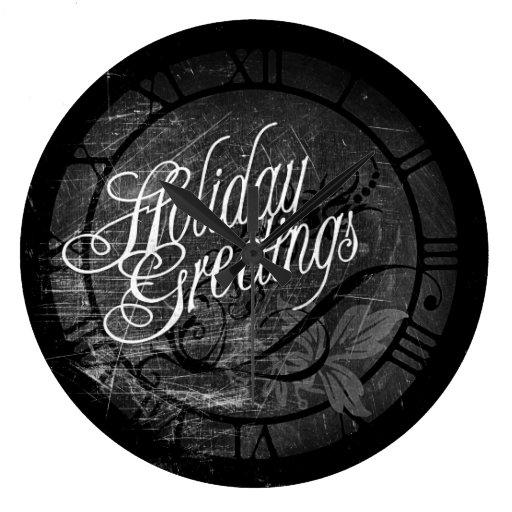 Saludos góticos del día de fiesta reloj redondo grande