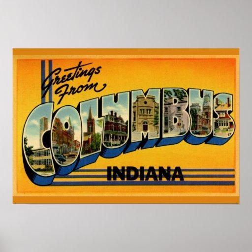 Saludos grandes de la letra de Columbus Indiana Póster
