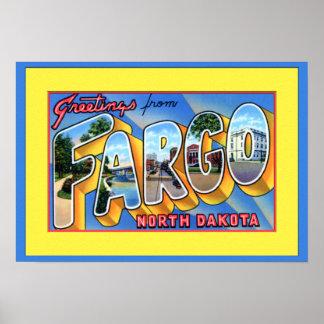 Saludos grandes de la letra de Fargo Dakota del No Posters