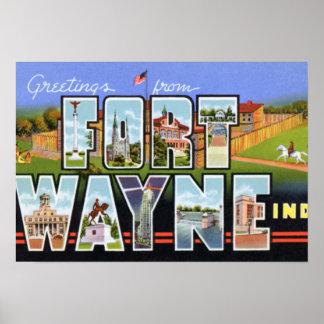 Saludos grandes de la letra de fuerte Wayne Indian Póster