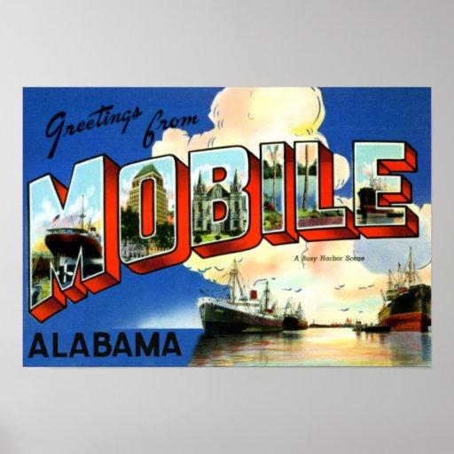 Saludos grandes móviles de la letra de Alabama Poster