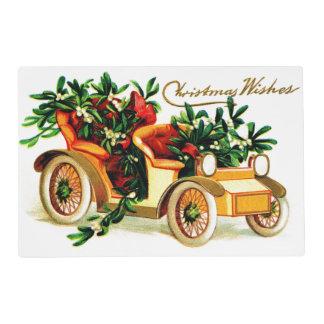 Saludos hermosos del navidad del coche del vintage tapete individual