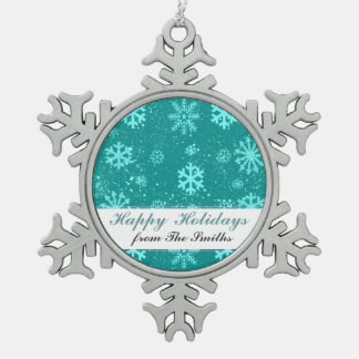 Saludos hivernales del personalizado de la nieve adorno de peltre en forma de copo de nieve