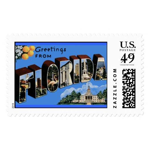 Saludos la Florida del vintage del franqueo