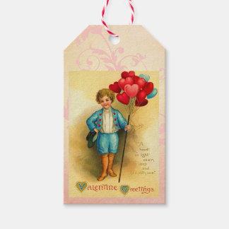 Saludos lindos del globo de la tarjeta del día de etiquetas para regalos