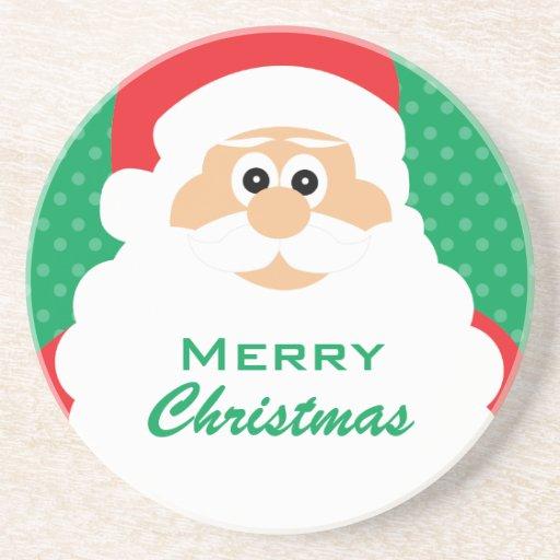 Saludos lindos del navidad de Santa del dibujo ani Posavasos Personalizados