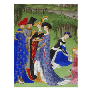Saludos medievales tarjeta postal