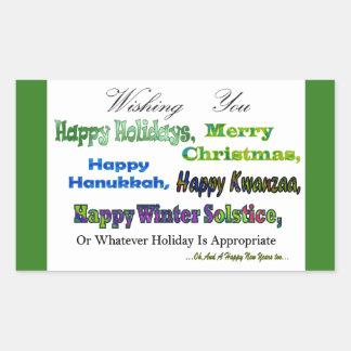 Saludos multi verdes del día de fiesta pegatina rectangular