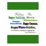 Saludos multi verdes del día de fiesta postal