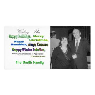 Saludos multi verdes del día de fiesta tarjetas con fotos personalizadas