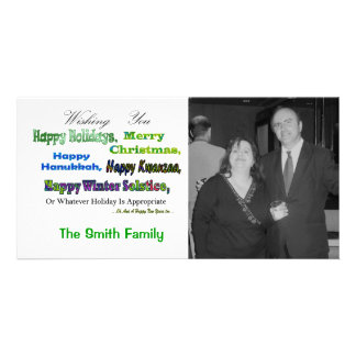 Saludos multi verdes del día de fiesta tarjetas fotograficas personalizadas