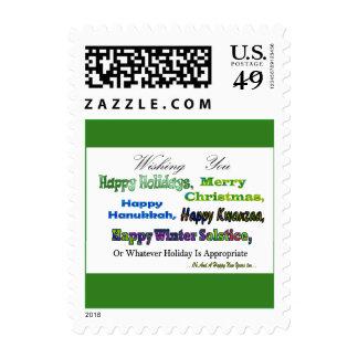 Saludos multi verdes del día de fiesta timbre postal