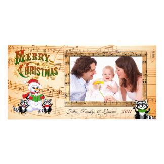 Saludos musicales del navidad tarjeta fotográfica personalizada