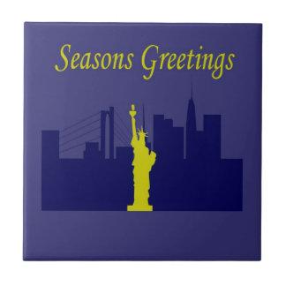 Saludos NYC de las estaciones Azulejo Cuadrado Pequeño
