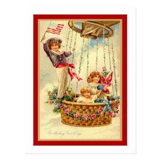 Saludos patrióticos del cumpleaños tarjetas postales