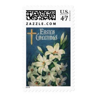 Saludos religiosos de Pascua del vintage, flores Estampilla