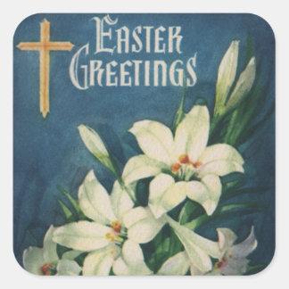 Saludos religiosos de Pascua del vintage, flores Pegatina Cuadrada