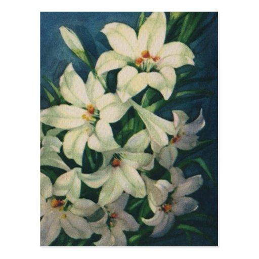 Saludos religiosos de Pascua del vintage, flores Postales