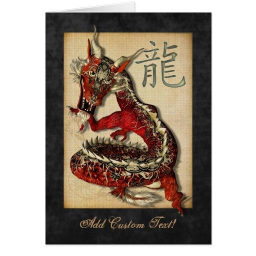 Saludos rojos chinos y Notecards del dragón Felicitación