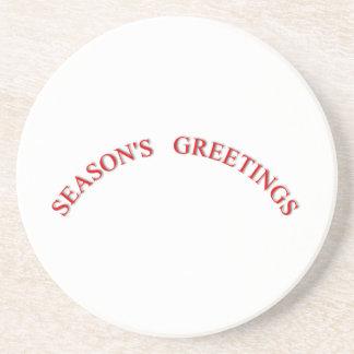 Saludos rojos de las estaciones del navidad posavasos manualidades